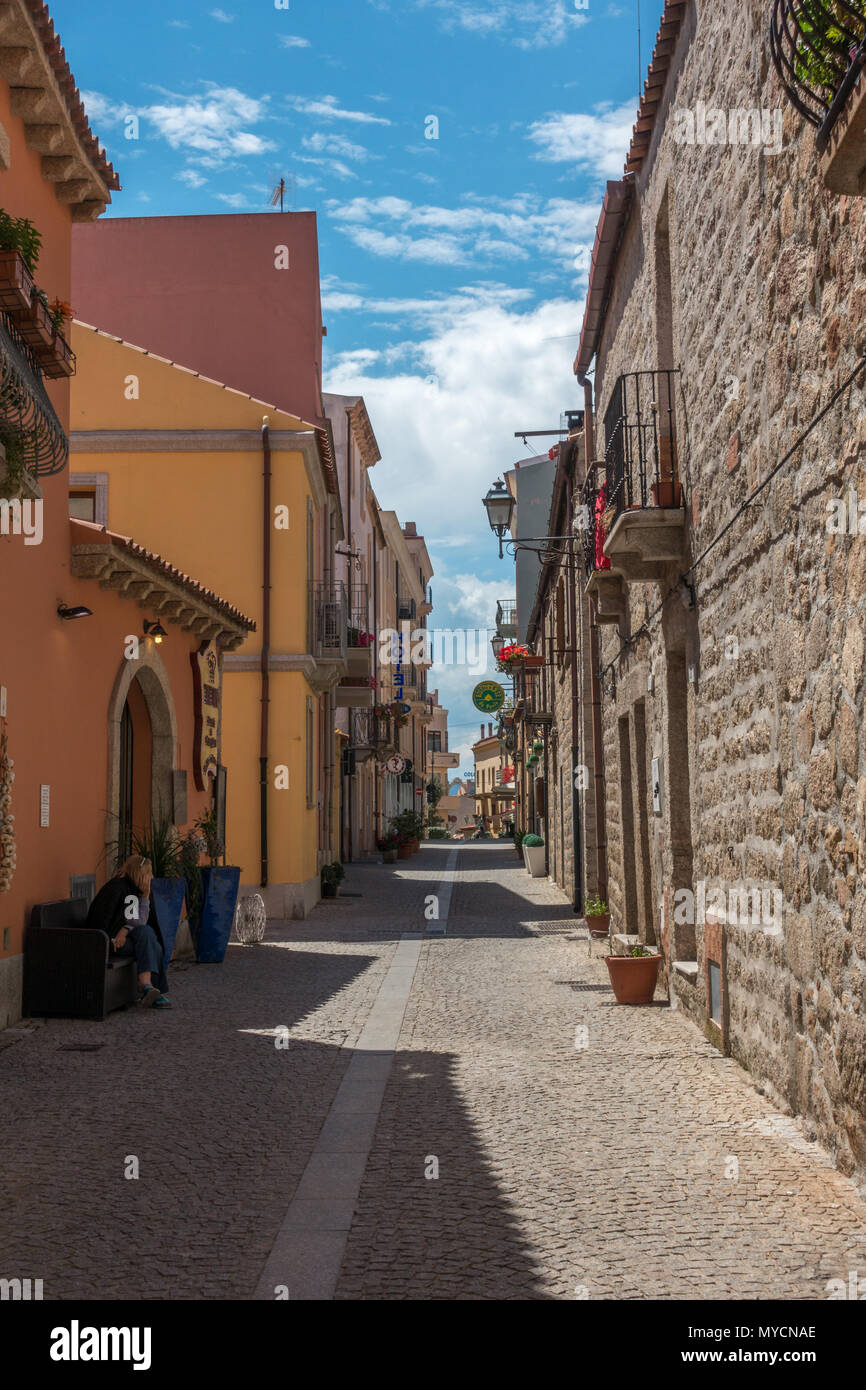 Streets of Olbia old town, Sardinia Stock Photo