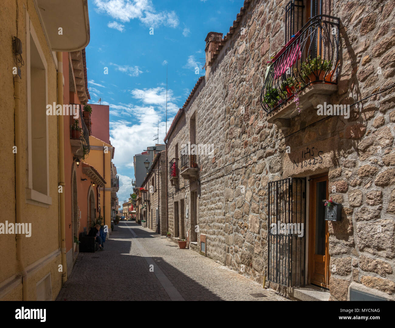 Streets of Olbia old town, Sardinia - Stock Image