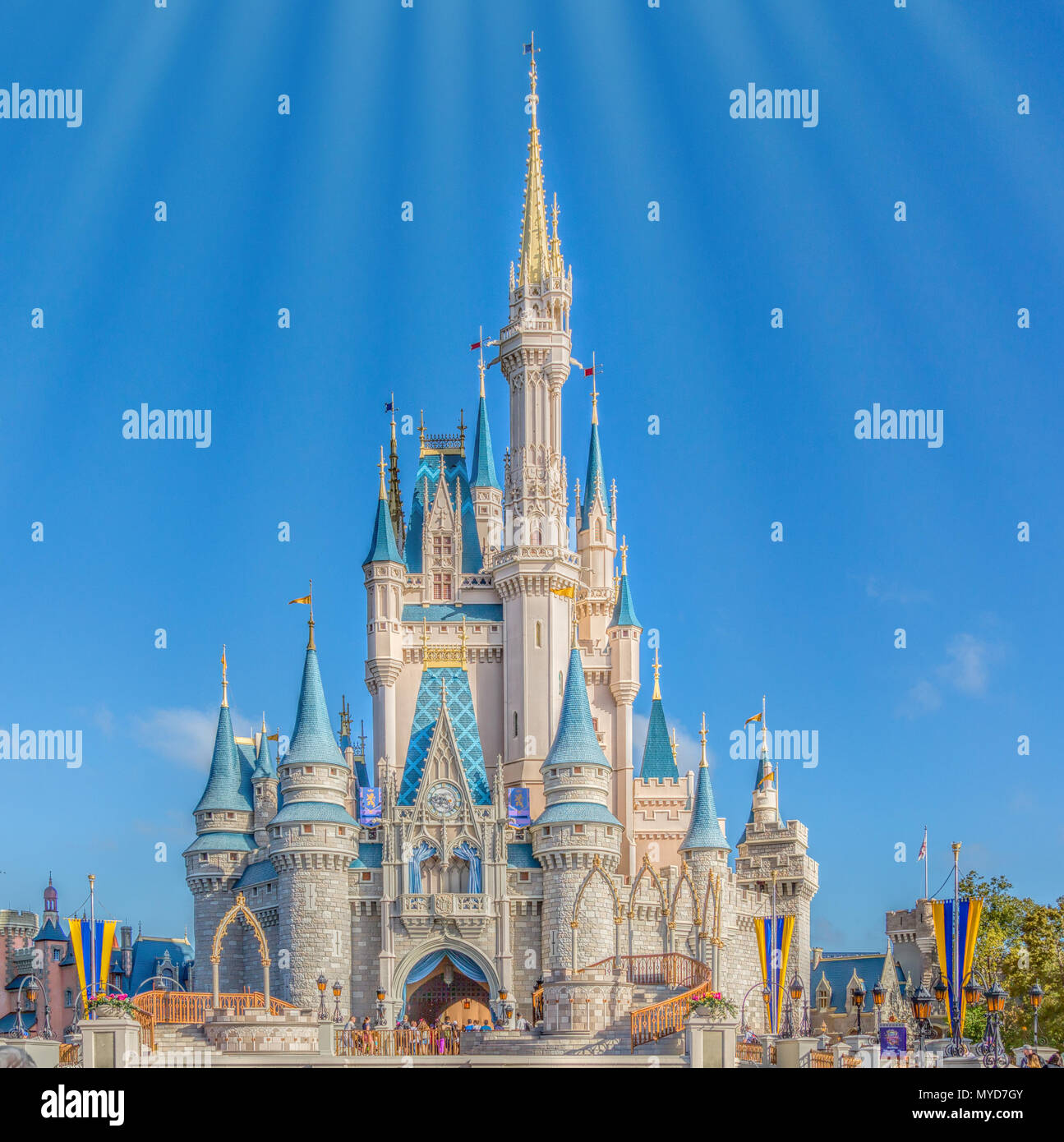 Cinderella's Castle at the end of Main Street in Fantasyland, Magic Kingdom in Disney World in Orlando Florida. - Stock Photo