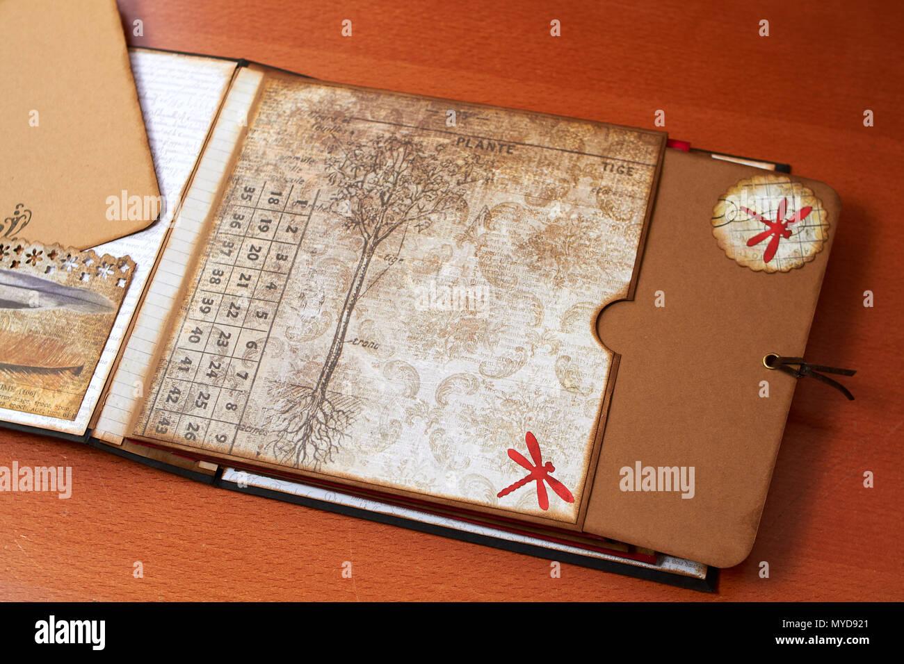 Scapbook empty album with textured paper Stock Photo