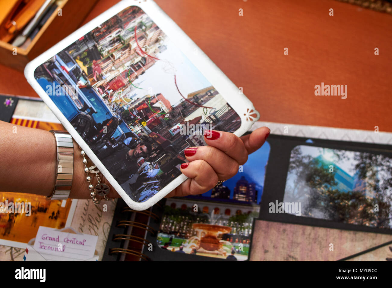 Scapbook new york album with textured paper Stock Photo