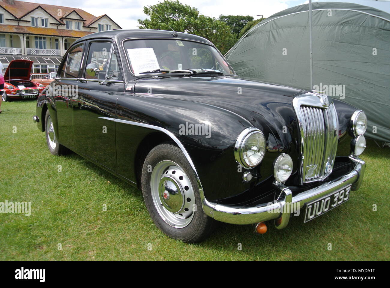 a 1956 MG ZA Magnette classic car parked on display at the English Riviera classic car show, Paignton, Devon, England, UK - Stock Image