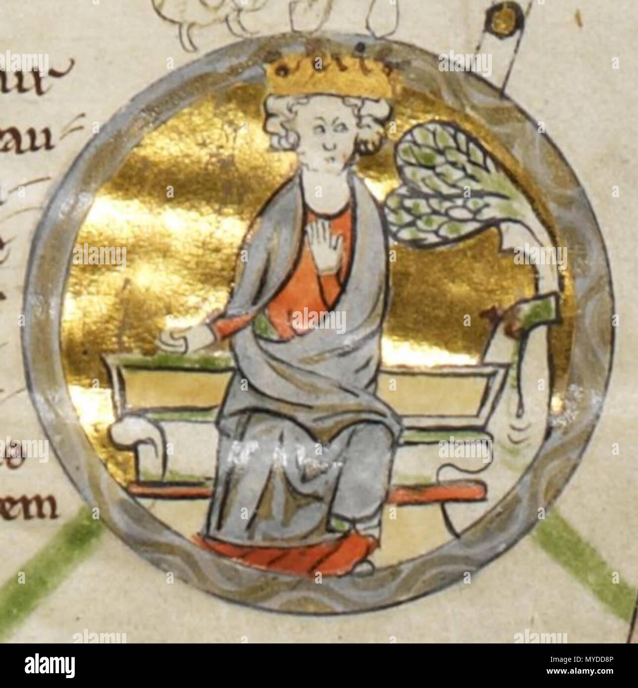 . Français: Miniature d'Edmond Ier d'Angleterre dans une généalogie royale du XIIIe siècle. 2 September 2013, 19:09:03. Unknown 153 Edmund I - MS Royal 14 B V - Stock Image