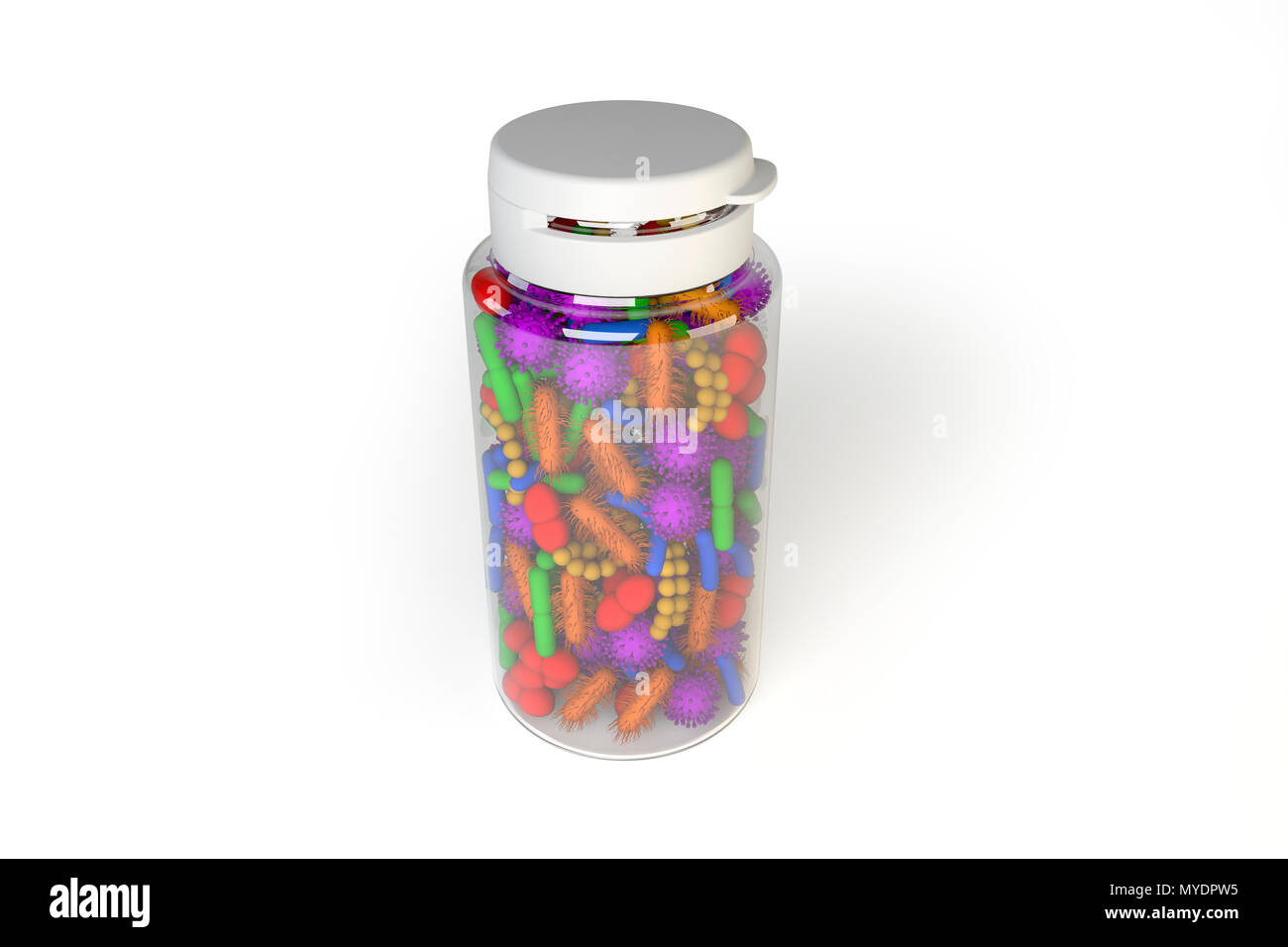 Conceptual Illustration Of Human Microbiome Microbes Inside A Pill