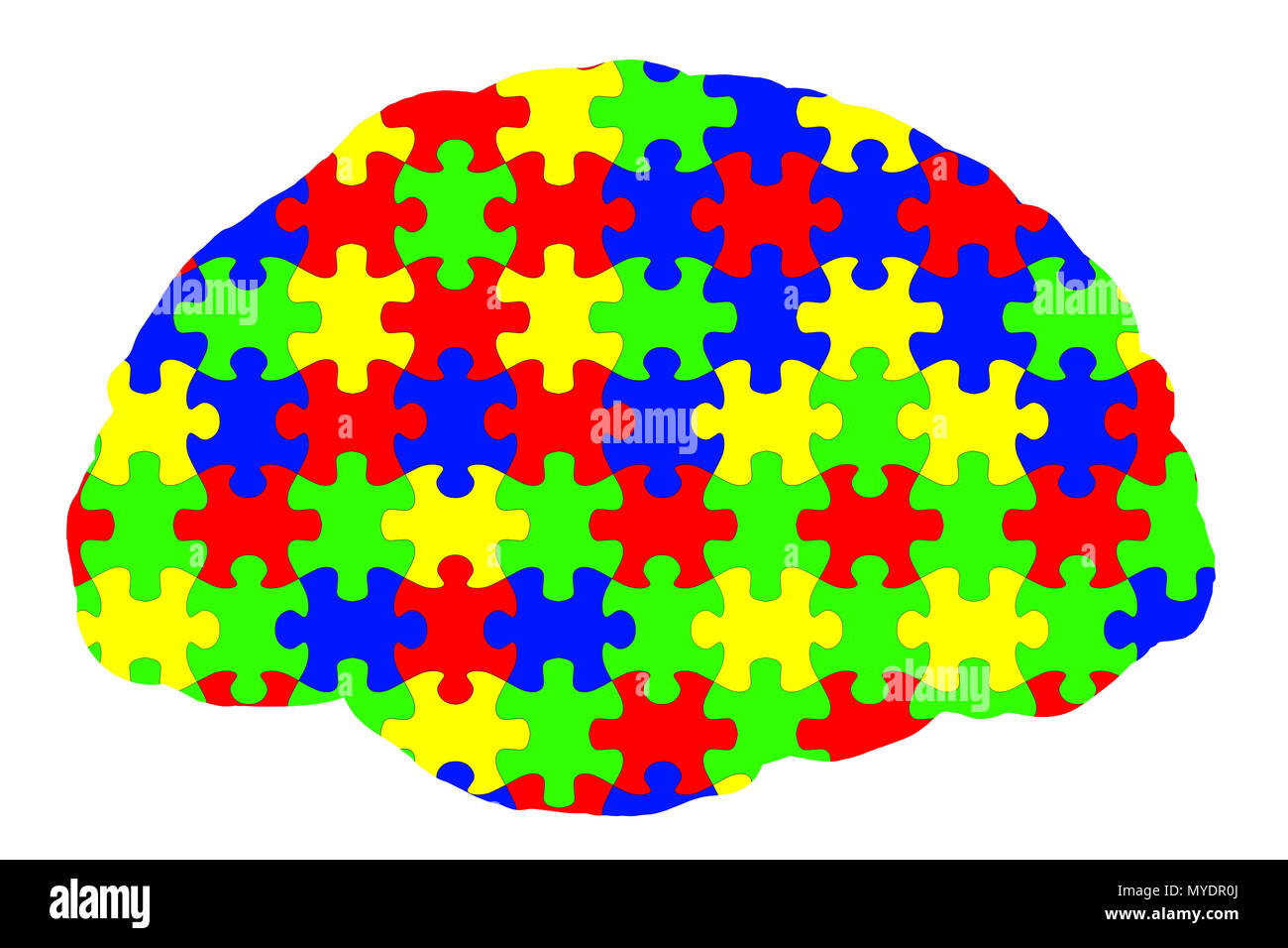Autism spectrum disorder, conceptual illustration. Autism spectrum disorder is used to describe several neurodevelopmental disorders that involve deficits in social communication and interaction, and restricted or repetitive patterns of behaviour or interests. - Stock Image