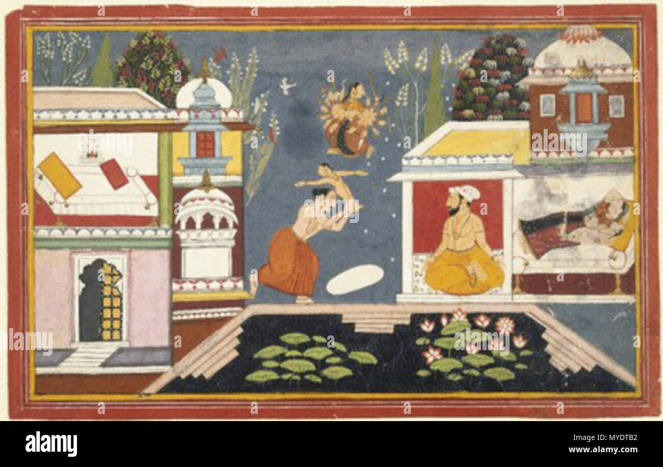 . Episodes Surrounding the Birth of Krishna Page from an illustrated manuscript of the Bhagavata Purana . This painting illustrates the Bhagavata Purana, an ancient text dedicated to the Hindu god Krishna, who lived on earth as a prince. Before Krishna's birth, his evil uncle Kamsa received an omen that he would be killed by a nephew, and had all his sister's children killed. To avoid having their new baby meet the same fate, Krishna's parents sent him away and presented Kamsa with a decoy infant who was actually a goddess in disguise. This painting shows Krishna's mother sleeping with the dec - Stock Image