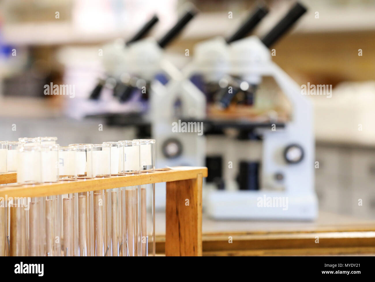 science scientist related images displaying electronic microscopes and test tubes in a laboratory or storeroom. strong education research and medical - Stock Image