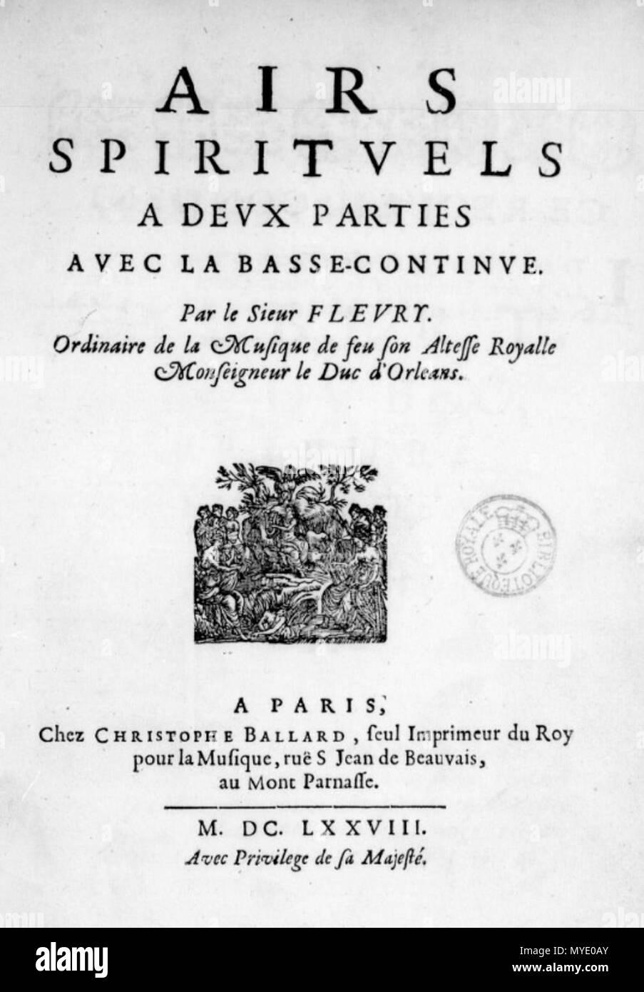 . Français: Title page of Fleury's Airs spirituels, 1678. 1678. Nicolas Fleury (c. 1630 - c. 1680) 181 Fleury - Airs 1678 Stock Photo