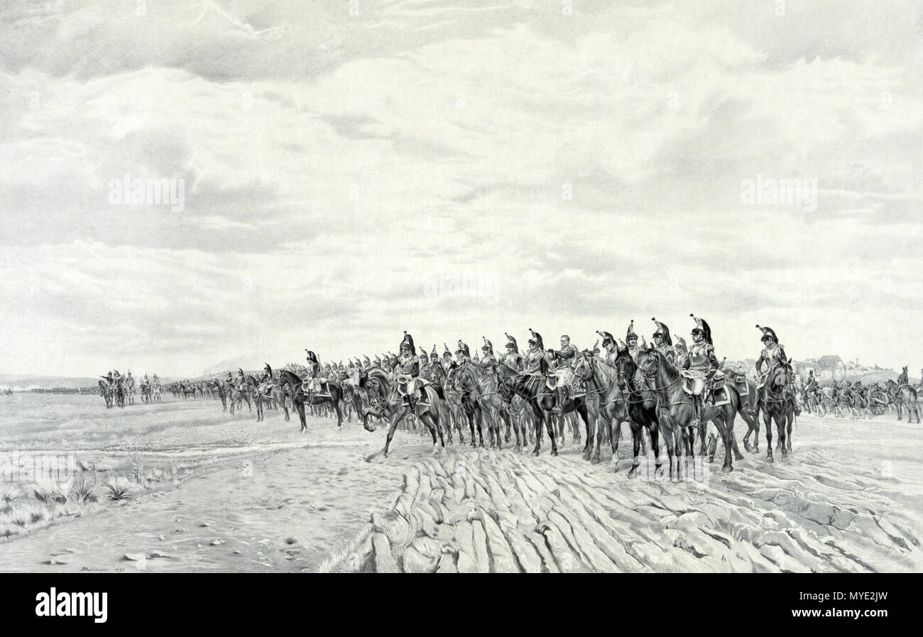 .  English: 1805 Napoleon at Austerlitz. Print showing long line of French cavalry with artillery moving behind them at Austerlitz. Includes remarque of Napoleon, half-length portrait, facing slightly right. . circa 1894 5 1805 Napoleon at Austerlitz - Stock Image