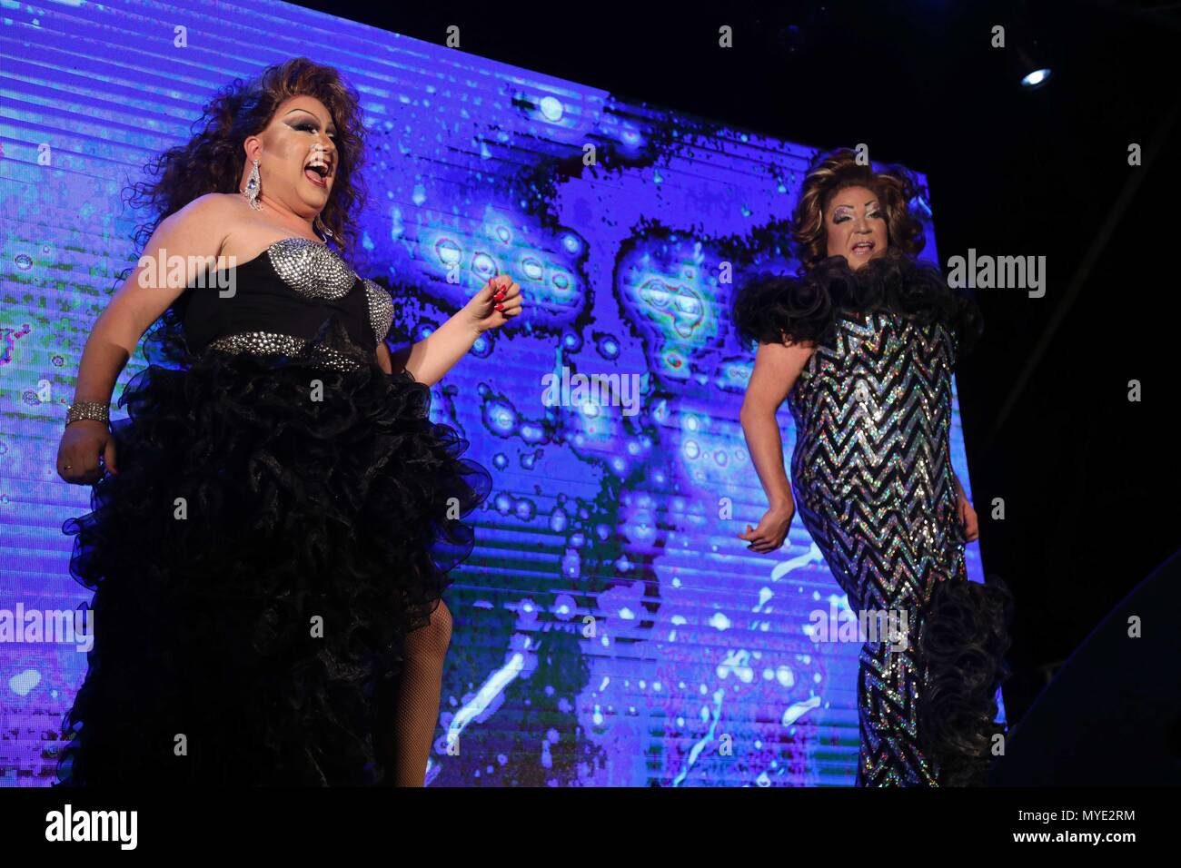 Tel Aviv, Israel. 6th June, 2018. Drag queens perform a show during the 2018 Wigstock event, part of the Tel Aviv Pride Week, in Tel Aviv, Israel, on June 6, 2018. Credit: JINI/Gideon Marrkowicz/Xinhua/Alamy Live News - Stock Image