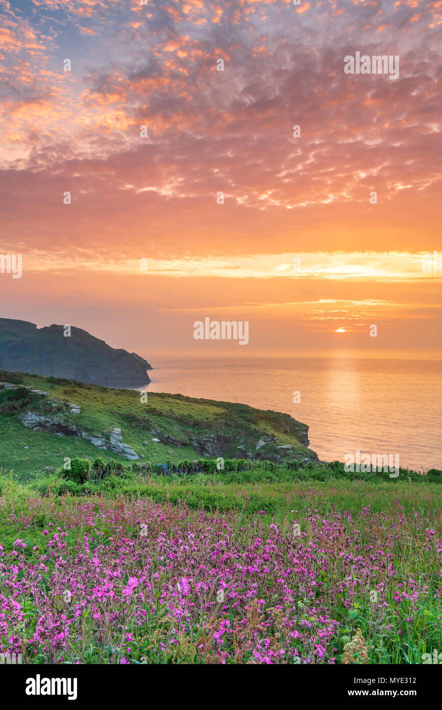 Bossiney Cove, Cornwall, UK. 6th June, 2018. UK Weather - After a warm and sultry day, cloud cover builds as the sun sets over the headland at Bossiney Cove in Cornwall, with the forecast set for a cooler spell in the South West of England. Credit: Terry Mathews/Alamy Live News Stock Photo