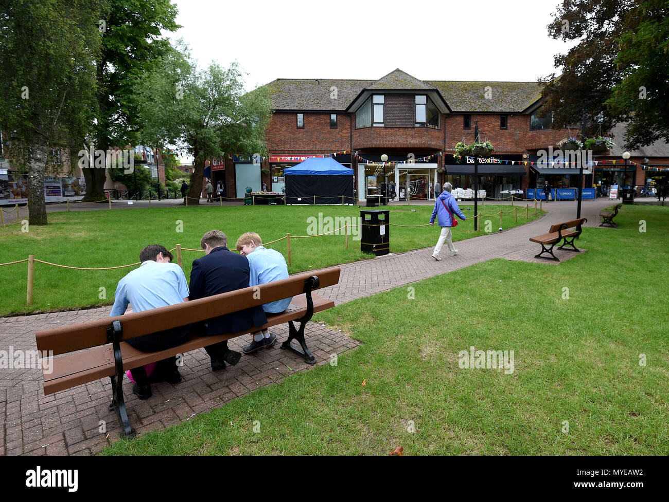 Salisbury, Wiltshire, UK. 7th June, 2018. General views of The Maltings shopping area, 2 weeks after reopening to the public after the poisoning of the poisoning of Sergei and Yulia Skripal, Salisbury, Wiltshire Credit: Finnbarr Webster/Alamy Live News - Stock Image