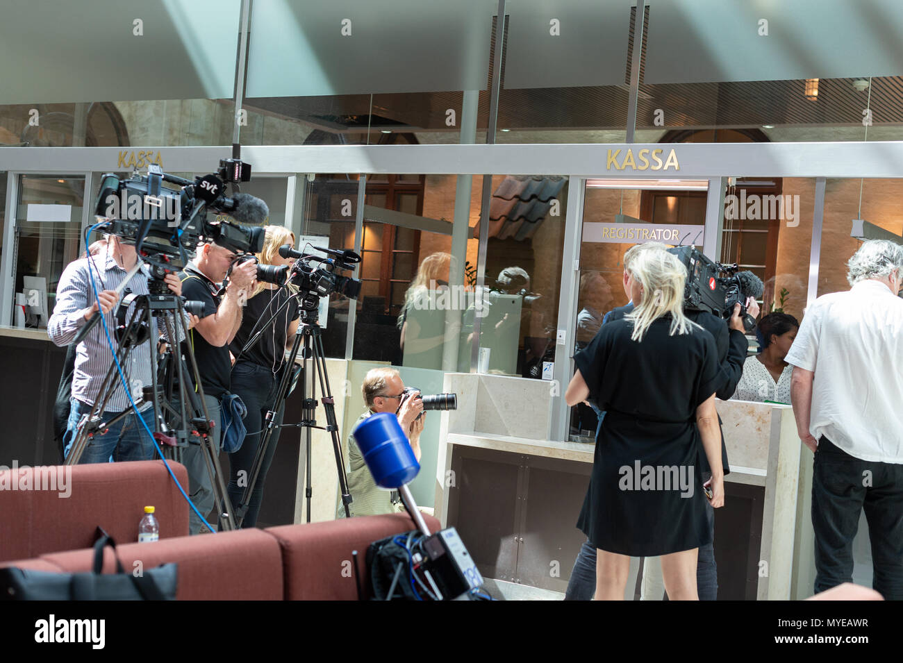 Stockholm, Sweden, June 7, 2018. Stockholm district court today sentenced Rakhmat Akilov to life imprisonment for terrorism attack on Drottninggatan, April 7, 2017. Akilov will be deported after having served his sentence. Journalists wating for the verdict. Credit: Barbro Bergfeldt/Alamy Live NewsStock Photo