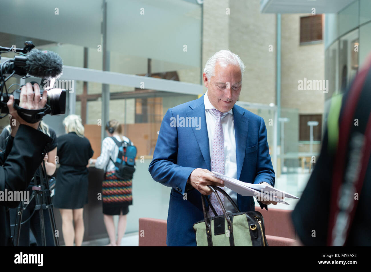 Stockholm, Sweden, June 7, 2018. Stockholm district court today sentenced Rakhmat Akilov to life imprisonment for terrorism attack on Drottninggatan, April 7, 2017. Akilov will be deported after having served his sentence. Defense Attorney Johan Eriksson reads the verdict.Alamy Live News - Stock Image