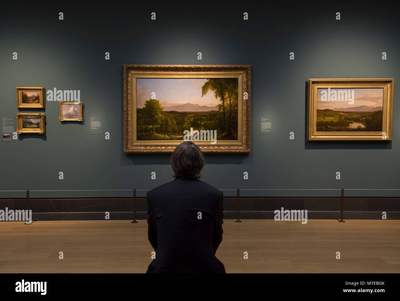 National Gallery, London, UK. 7 June, 2018. Thomas Cole: Eden to Empire. Tthe American wilderness is seen through the eyes of British-born Thomas Cole (1801–1848). Thomas Cole's work depicts nature at its most powerful and vulnerable. His paintings glory in the unique terrain of the American Northeast – largely still unspoiled in his time. Image: View on the Catskill - Early Autumn, 1836-37. Lent by The Metropolitan Museum of Art. Credit: Malcolm Park/Alamy Live News. Stock Photo