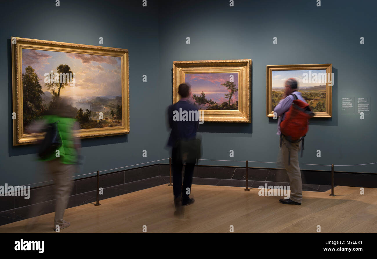National Gallery, London, UK. 7 June, 2018. Thomas Cole: Eden to Empire. Tthe American wilderness is seen through the eyes of British-born Thomas Cole (1801–1848). Thomas Cole's work depicts nature at its most powerful and vulnerable. His paintings glory in the unique terrain of the American Northeast – largely still unspoiled in his time - while serving as a cautionary tale about the use of natural resources in an increasingly industrial age. Credit: Malcolm Park/Alamy Live News. Stock Photo