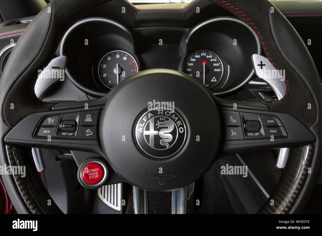 Alfa Steering Wheel Stock Photos Images Romeo Wheels 60s Dashboard And Of Stelvio