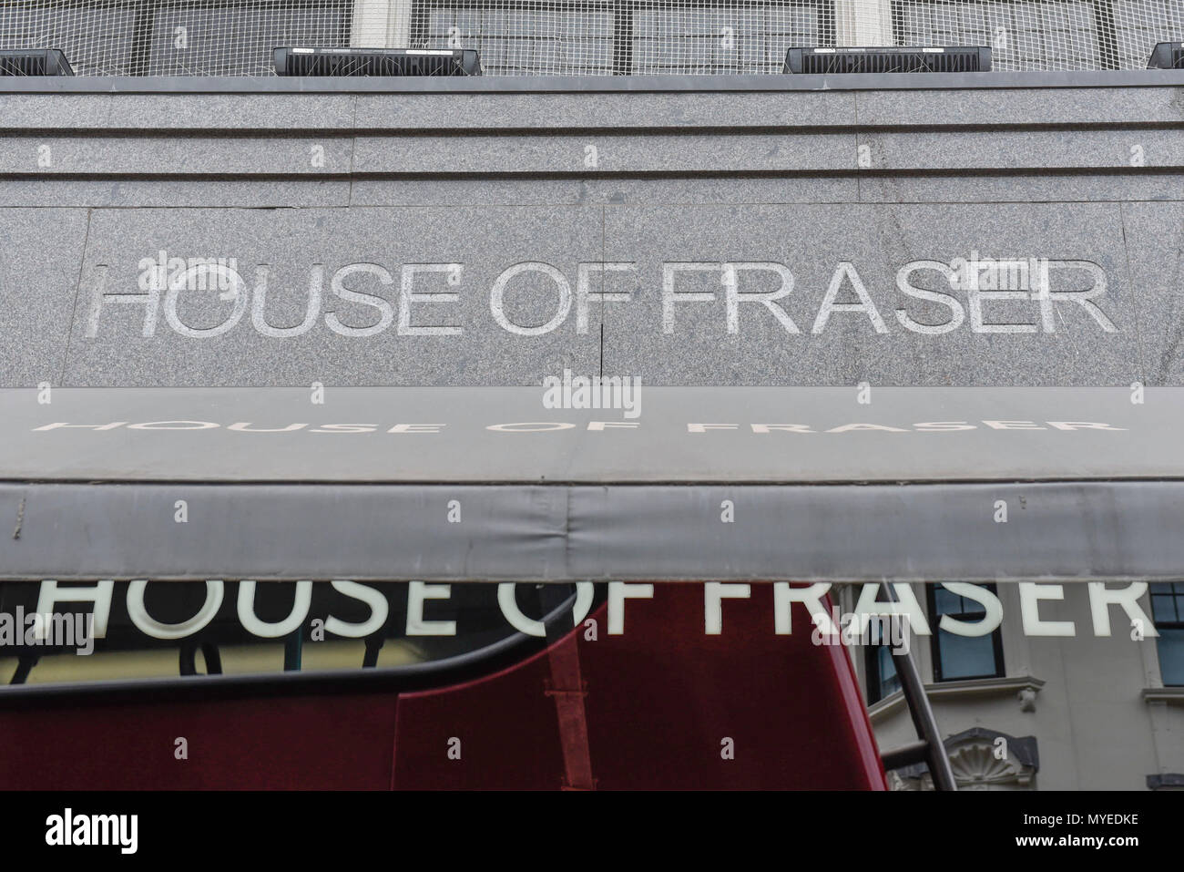 London, UK.  7 June 2018.  Exterior of the flagship store of House of Fraser in Oxford Street.  It is reported that the department store chain House of Fraser plans to close 31 of its 59 stores, with 6,000 jobs affected.  The flagship store will close in early 2019 if the rescue deal proceeds, which requires approval by 75% of its creditors as part of company voluntary arrangements.  Credit: Stephen Chung / Alamy Live News - Stock Image