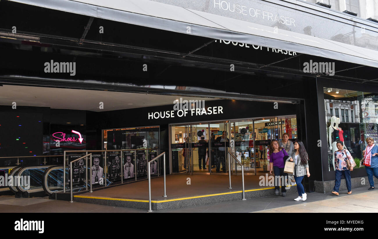 London, UK.  7 June 2018.  People walk by the flagship store of House of Fraser in Oxford Street.  It is reported that the department store chain House of Fraser plans to close 31 of its 59 stores, with 6,000 jobs affected.  The flagship store will close in early 2019 if the rescue deal proceeds, which requires approval by 75% of its creditors as part of company voluntary arrangements.  Credit: Stephen Chung / Alamy Live News - Stock Image