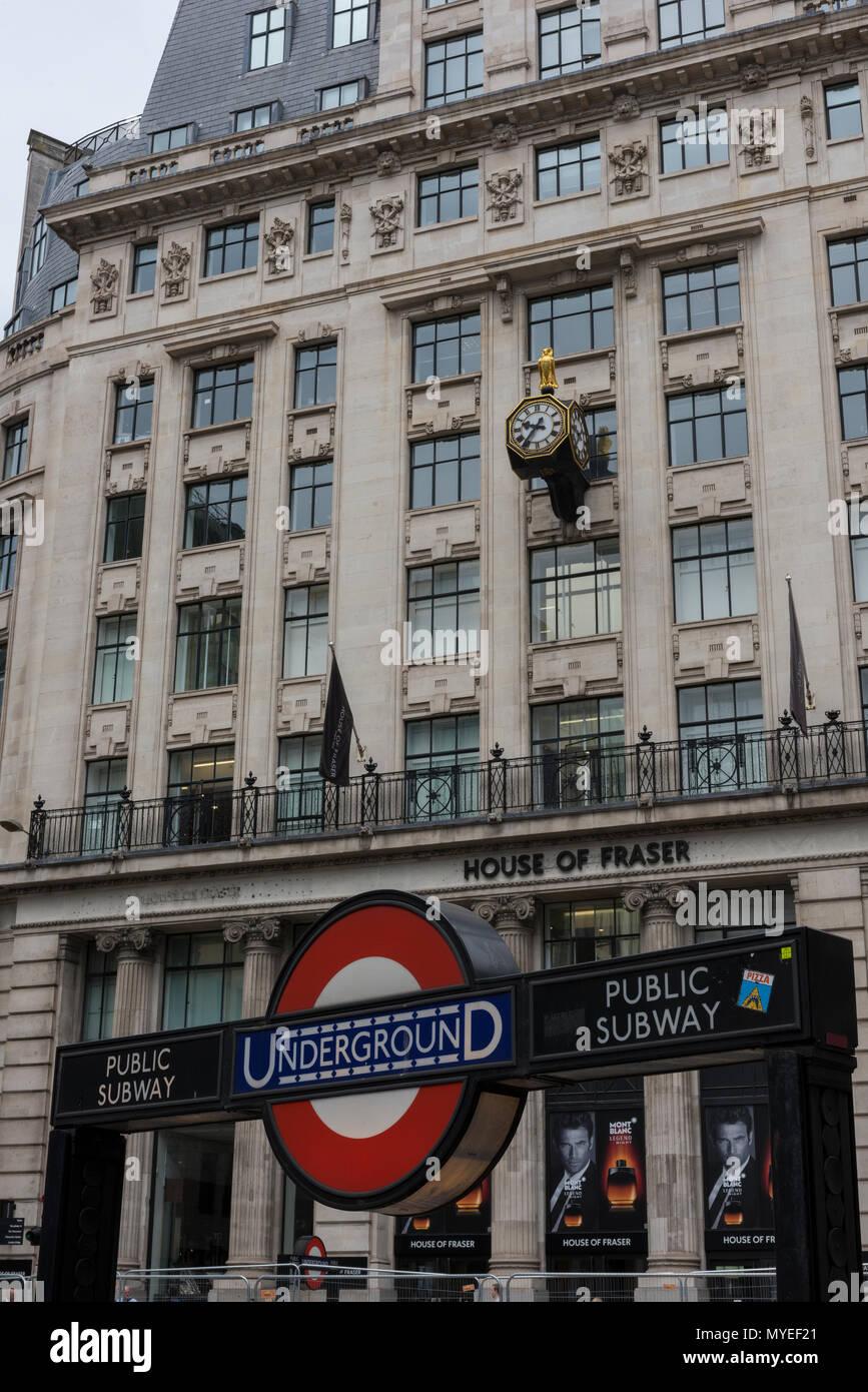 London, UK  7th Jun, 2018  House of Fraser, the high street retailer