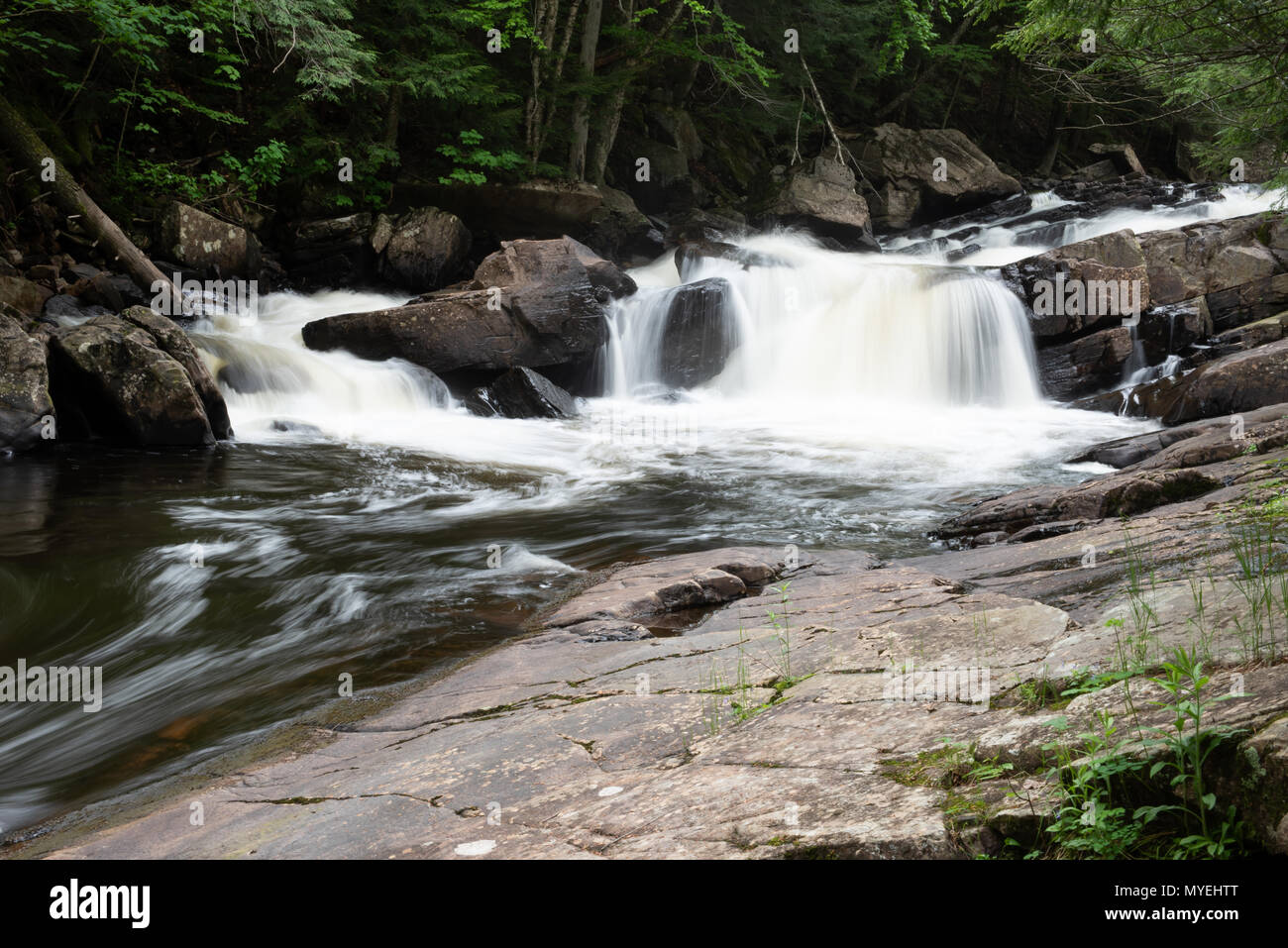A long exposure of Austin Falls waterfall on the Sacandaga River in the Town of Wells, NY USA - Stock Image