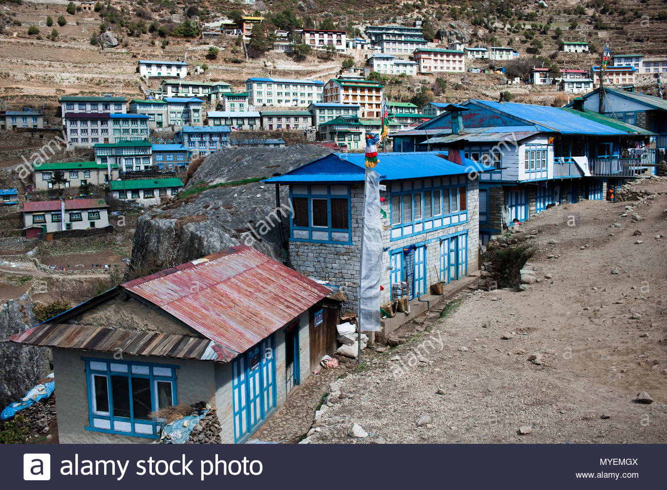 Typical mountain village architecture in the Khumbu valley of the Himalayas. - Stock Image
