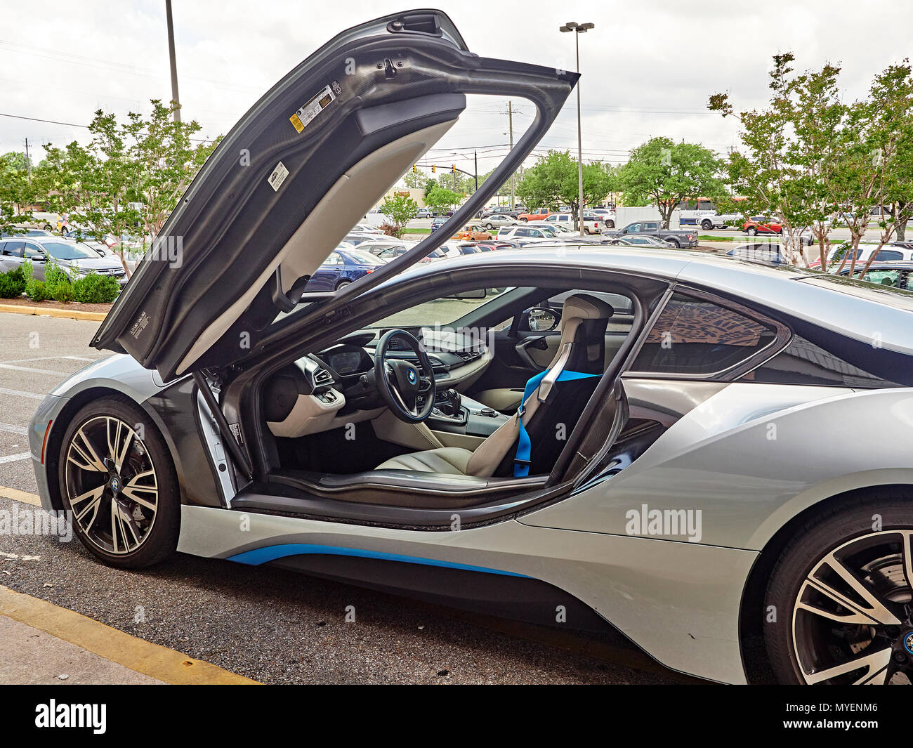 Bmw I8 Plug In Hybrid Super Car Or Sports Car Parked At The Curb