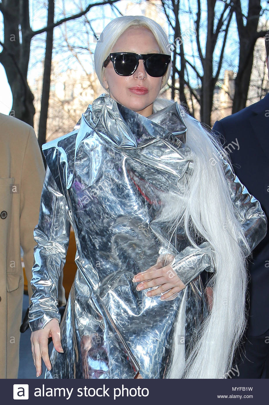Lady Gaga Spotted In An Aluminum Outfit While Receiving A Gift From Fan For Her Upcoming 28th Birthday On This Month March 28 New York City