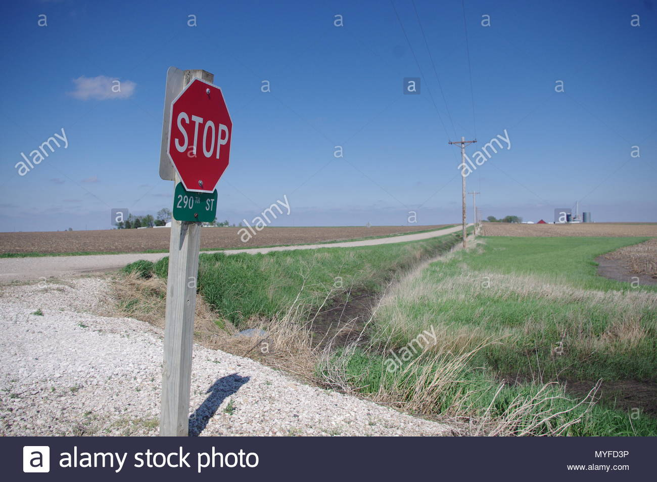 Rural junction, Great Plains, USA - Stock Image