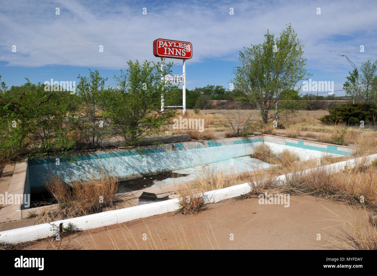 The Empty Swimming Pool At The Payless Inns Property In Tucumcari New Mexico The Abandoned Motel On Route 66 Was Destroyed In An Arson Fire In 2014 Stock Photo Alamy