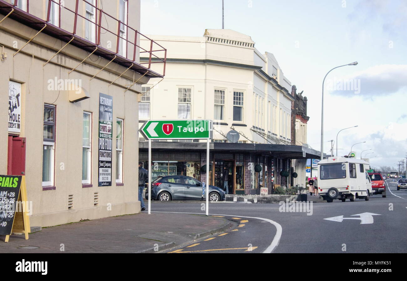 Bulls, New Zealand - 2 July 2016: Road sign on Bridge street showing the turn off to Taupo on State Highway One. - Stock Image