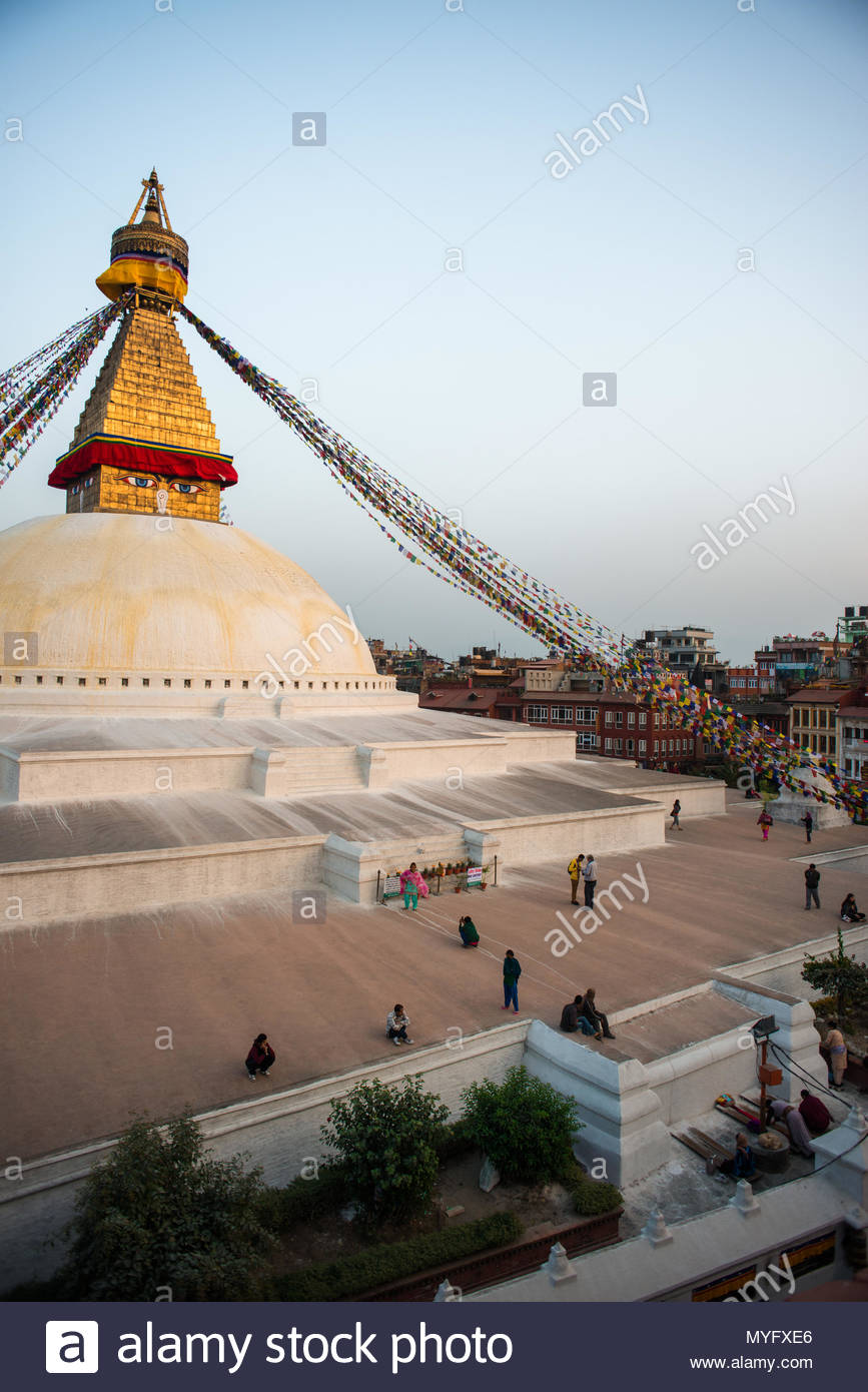 An UNESCO World Heritage Site since 1979, the Buddhist stupa of Boudhanath is one of the largest in the world. - Stock Image