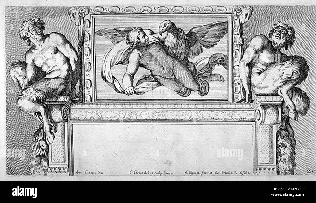 .  Italiano: Carlo Cesio (1626-1686), Ganimede e Giove (incisione dell'affresco di Annibale Carracci in Palazzo Farnese a Roma). Edito nella Illustrazione de la Galleria Farnese (1675). English: Carlo Cesium (1626-1686), Ganymede and Jupiter (fresco engraving of Annibale Carracci in Palazzo Farnese in Rome) . Published in the Illustration of the Farnese Gallery (1675) 202 Ganimede - Cesio, Carlo (1626-1686), Ganimede e Giove da A. Carracci, Ill. de la Galleria Farnese, 1675 - Stock Image