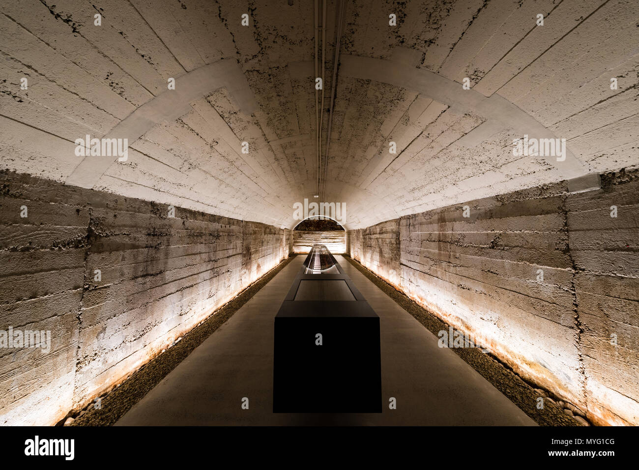 An underground climate controlled tunnel storing a rare collection of red wine. - Stock Image