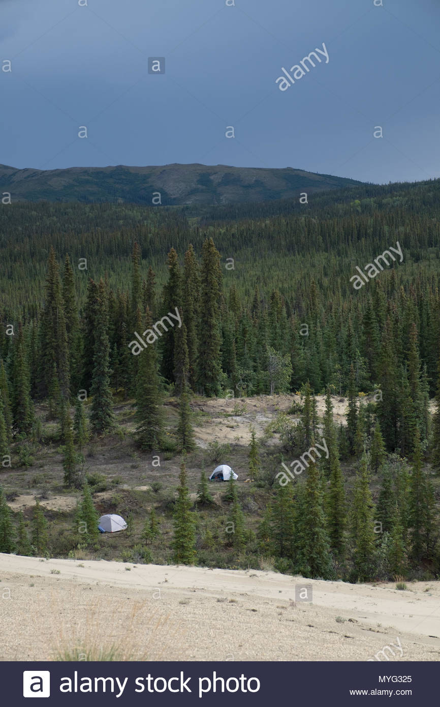 The boreal forest of Kobuk Valley National Park with a campground in a clearing. - Stock Image
