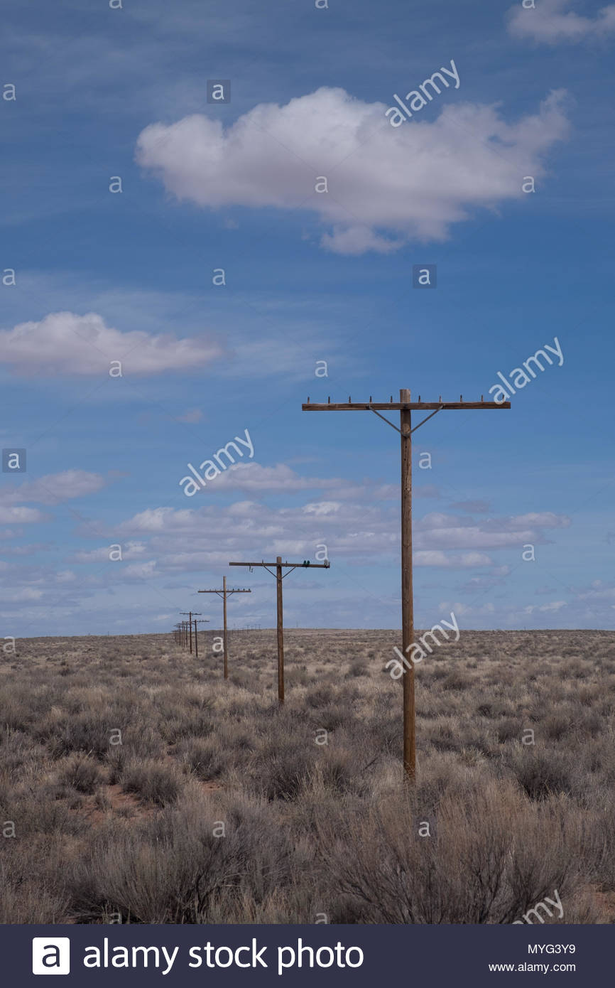 Disused utility poles in Petrified Forest National Park. - Stock Image