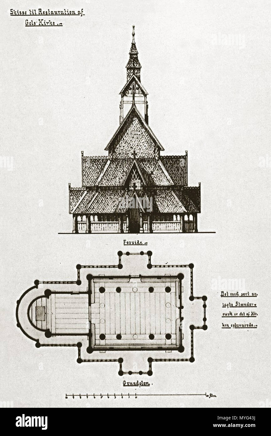 . Drawing during reconstruction of Gol stave church by T. Prytz, from 1883 . from 1883. Torolf Prytz / Processing by John Erling Blad (jeb) 21:31, 13 November 2005 (UTC) 215 Gol stavkirke 1883 - Stock Image
