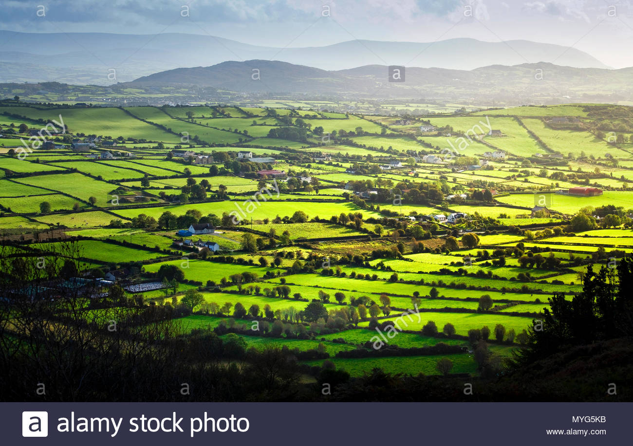 View over Irish countryside and patchwork fields. - Stock Image