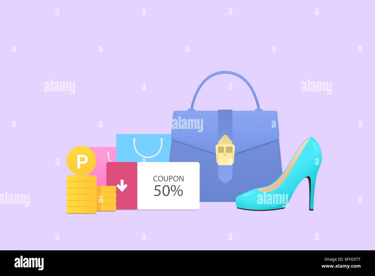 Flat design for online shopping. Flat style objects vector illustration 017 - Stock Vector