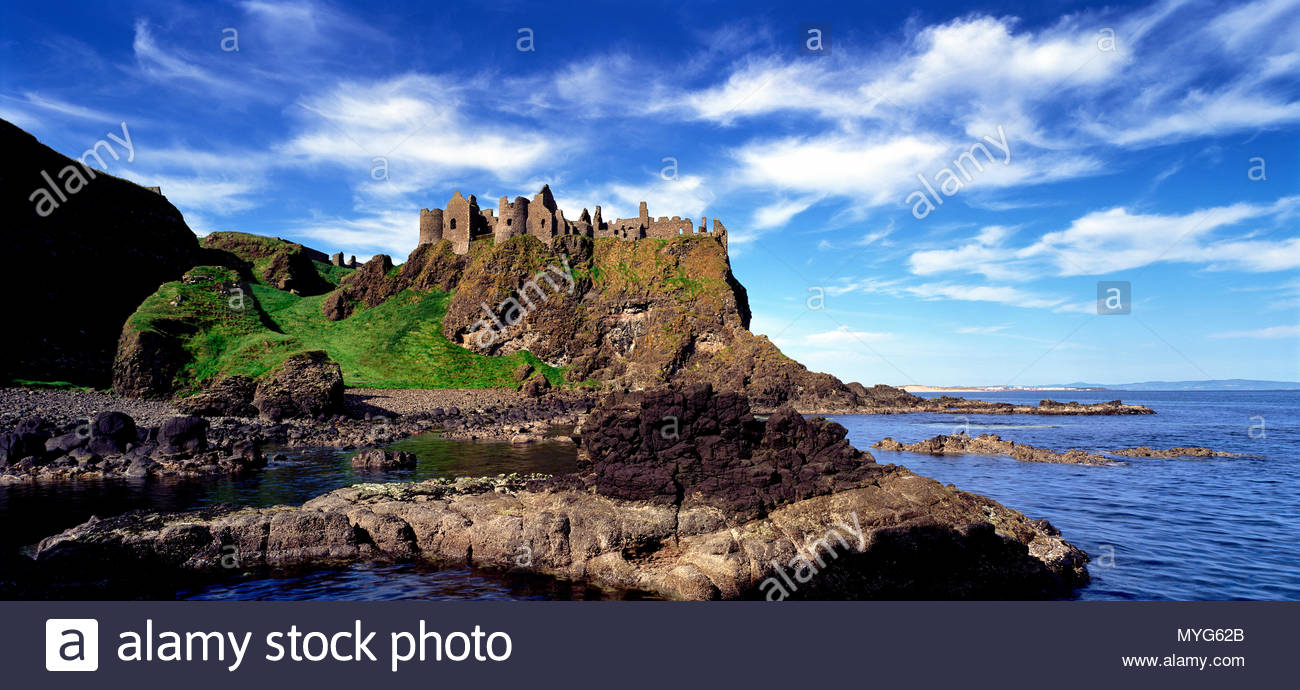Ruins of Dunluce Castle on the north Antrim coast of Ireland. - Stock Image