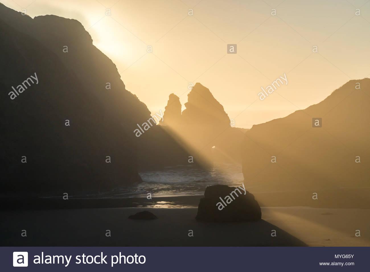 Sisters Rocks State Park, Oregon, Pacific Ocean coastline, seaside - Stock Image