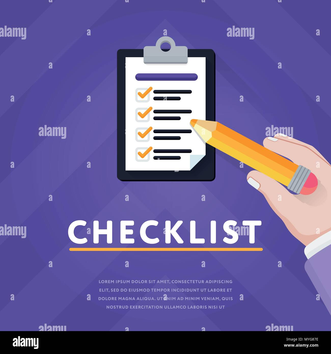 Colorful vector with clipboard and checklist - Stock Image
