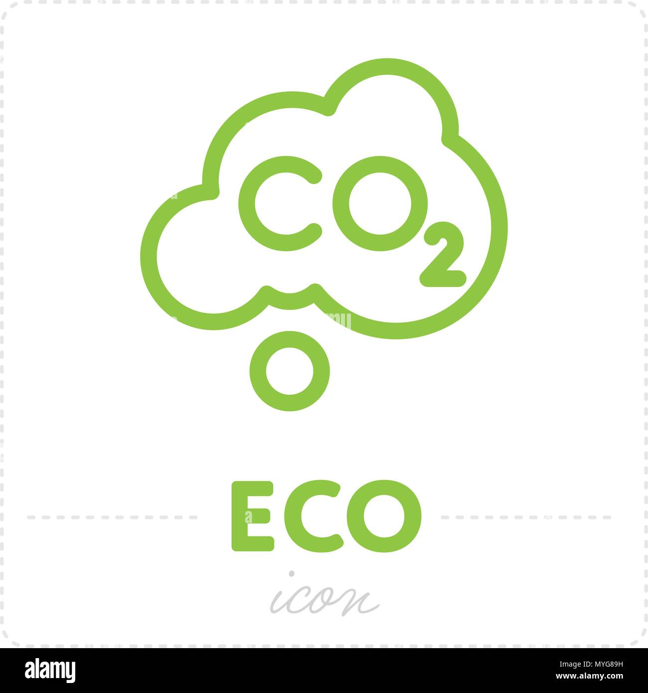 Green icon with carbon dioxide element - Stock Image