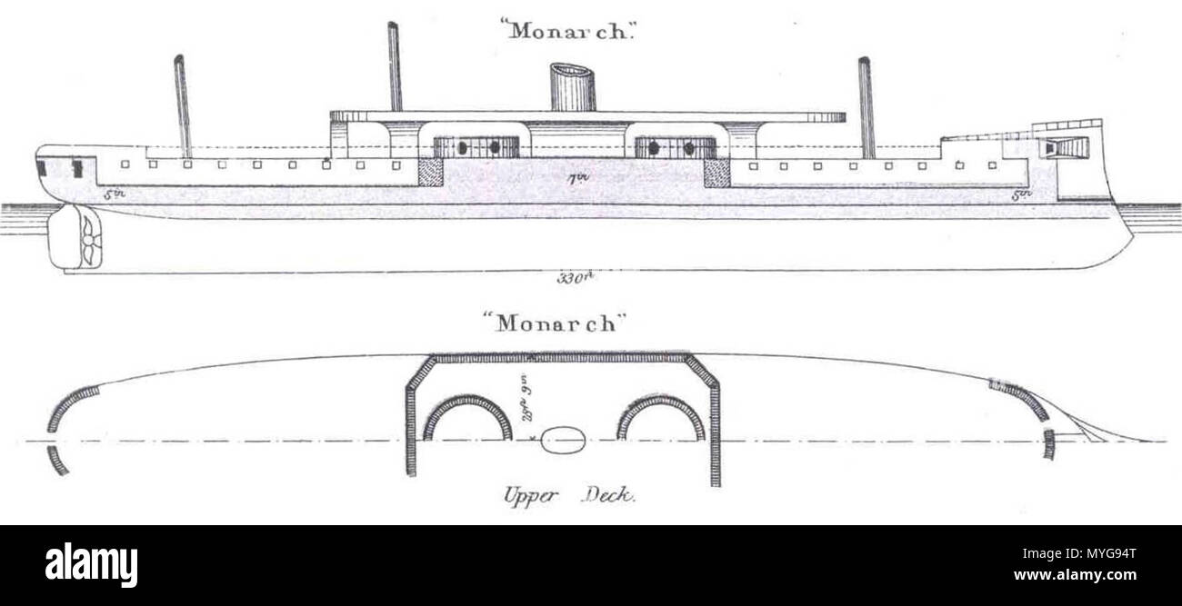 diagrams depicting right elevation and plan views of british ironclad  turret battleship hms monarch  circa  1869-1888  brassey's 243 hms monarch  diagrams