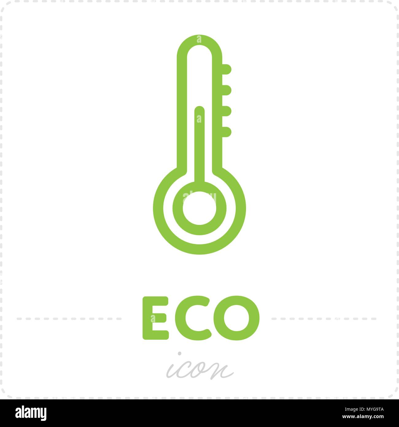 Temperature icon in green color - Stock Image