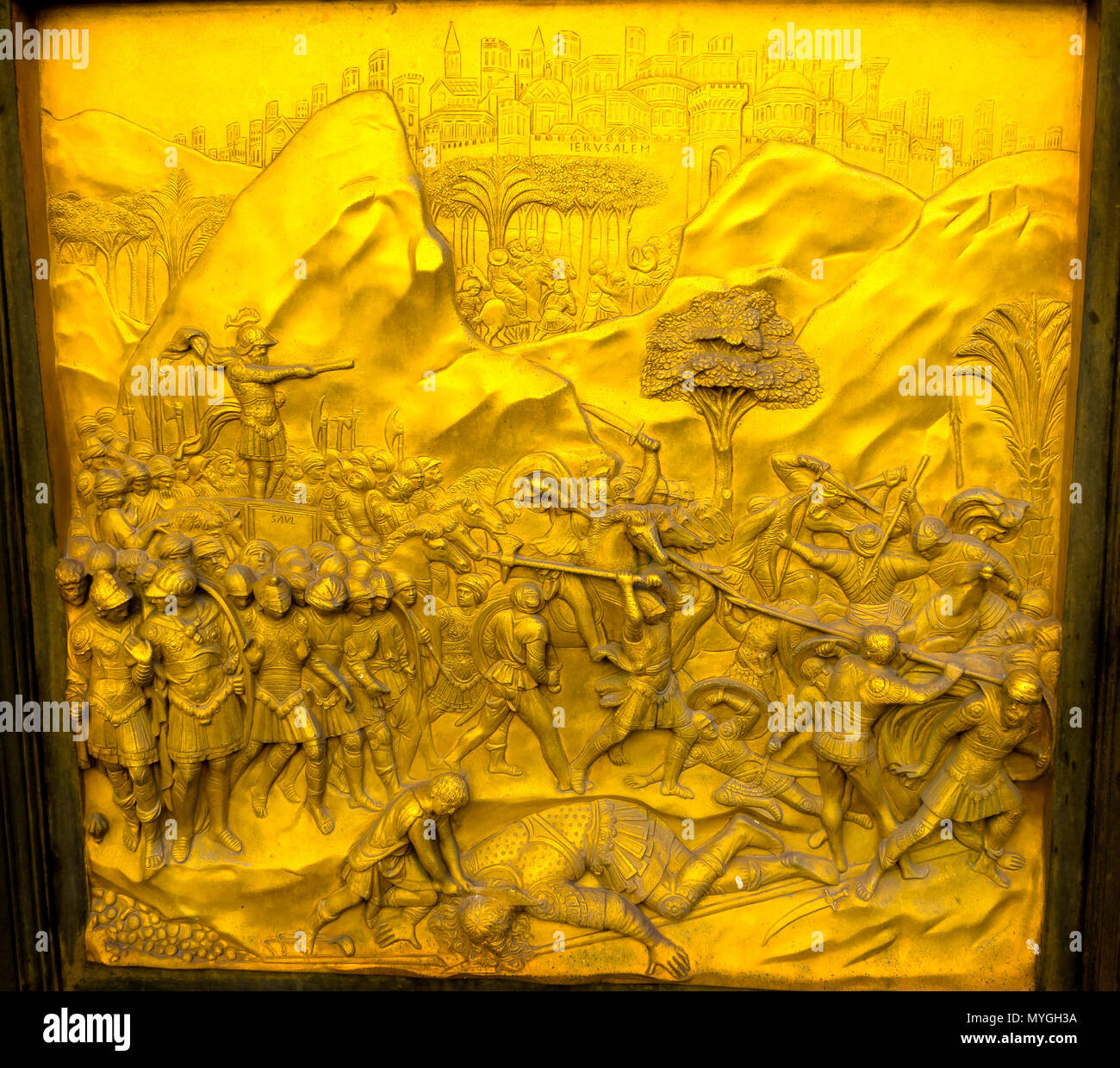 David and Goliath Gates of Paradise Ghiberti Bronze Door Bapistry Duomo Cathedral Church Florence Italy. Bapistry was created in 1100s. Bronze Doors & David and Goliath Gates of Paradise Ghiberti Bronze Door Bapistry ...