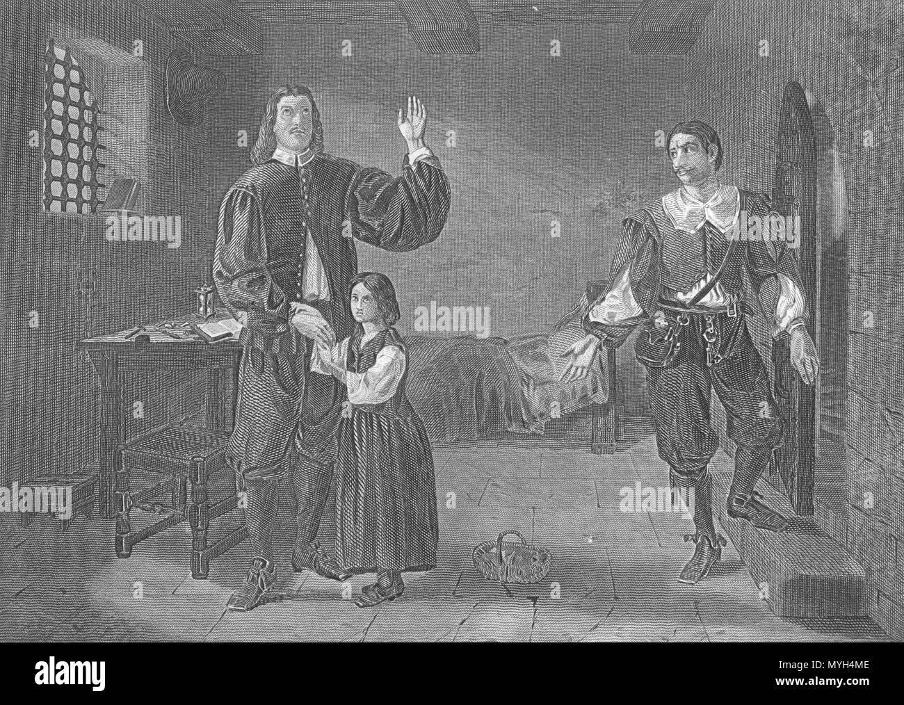 English: This is a picture of John Bunyan in Jail as his blind
