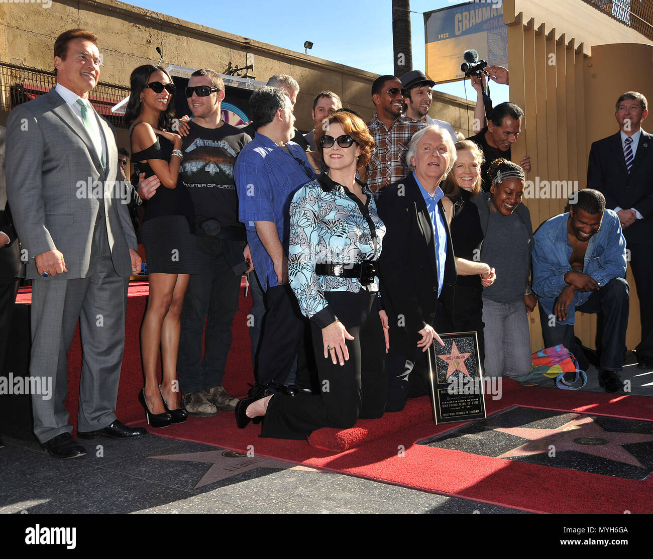 Cast Of Avatar Stars: Sigourney Weaver And Arnold Schwarzenegger Stock Photos