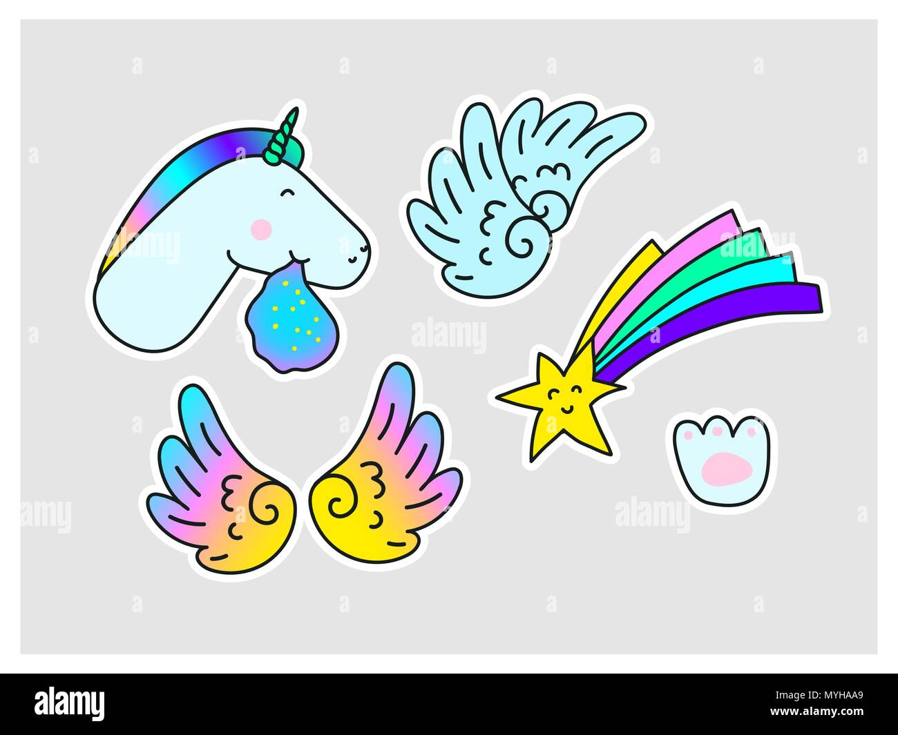 Unicorns star wings paw print fantasy vector stickers set isolated on gray background fun trendy fashion collection for youth laptop clothes textile