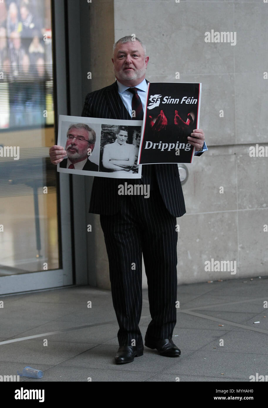 London, UK. 4TH February, 2018. Protestor at the BBC protesting for the BBC interviewing Gerry Adams on the Andrew Marr Show at the BBC studios in Lon - Stock Image